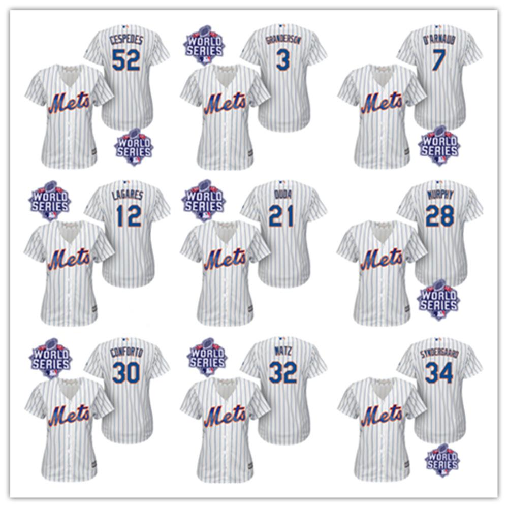 New York Mets Women Jersey w/2015 World Series Patch Daniel Murphy Matz dArnaud Syndergaard Duda Lagares Cespedes Women Jersey<br><br>Aliexpress