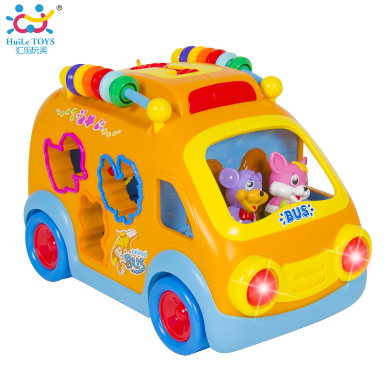Baby Toy Happy Educational School Bus Bump'n'Go with Music, Animal Sounds, Lights, Games Educational Toys for Children Xmas Gift(China (Mainland))