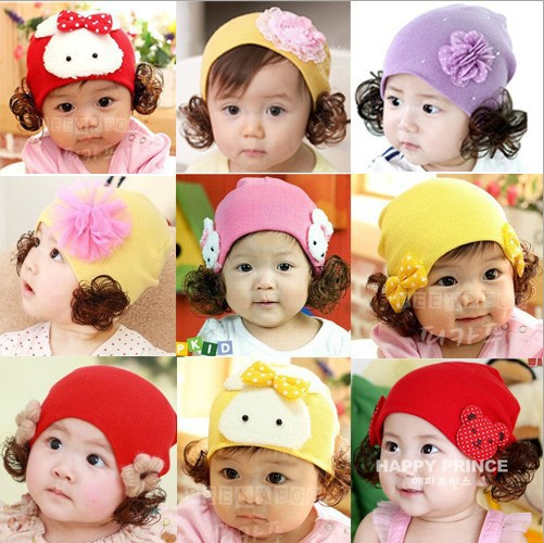 Baby New Cotton Warm Flowers Ear Cap Knitted Cap Infant Children's Cartoon Baby Pullover Wig Hat(China (Mainland))
