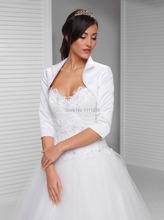 Nouvelle mariée en Satin Top veste col trois quarts manches Bolero DS0625(China (Mainland))
