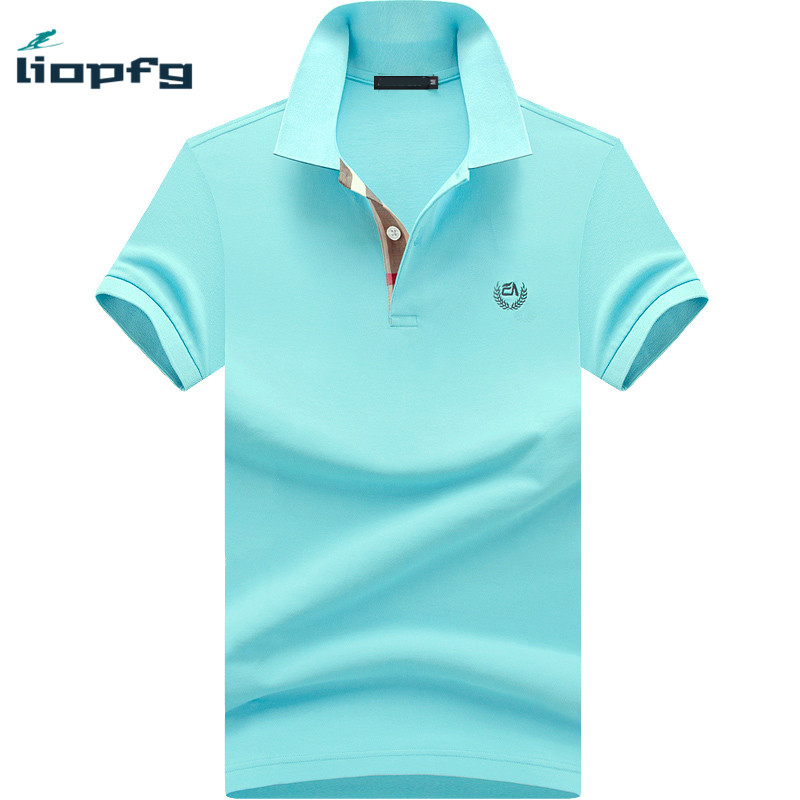 2017 Brand Summer Men Polo Shirt Short Sleeve Cotton Solid Gray Blue Polo Business Casual Men Performance Polo Shirts M-4XL WM05(China (Mainland))