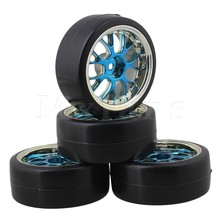 Mxfans 4 x Drift Tires & Y Shape Blue Hub Mxfans Wheel Rims for RC 1:10 Drift Car Black Plastic(China (Mainland))