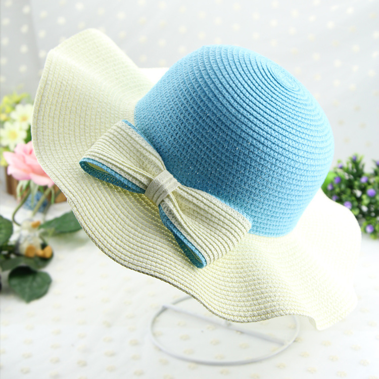 Korean female summer straw hat bow wave wood ear outdoor sunscreen Ms. Dayan Mao hat sun hat(China (Mainland))
