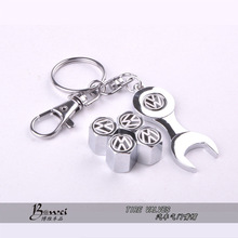 New Hot Sale Car Wheel Tire Valve Caps with Mini Wrench & Keychain for VW Volkswagen (4-Piece / Pack)(China (Mainland))
