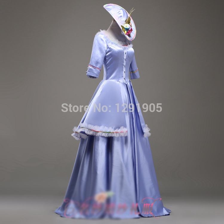 100real luxury blue ruffled medieval dress with hat sissi