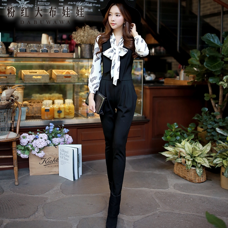 The lapel of slim pants Siamese Pink Doll 2015 new autumn and winter Korean cultivating female trousers