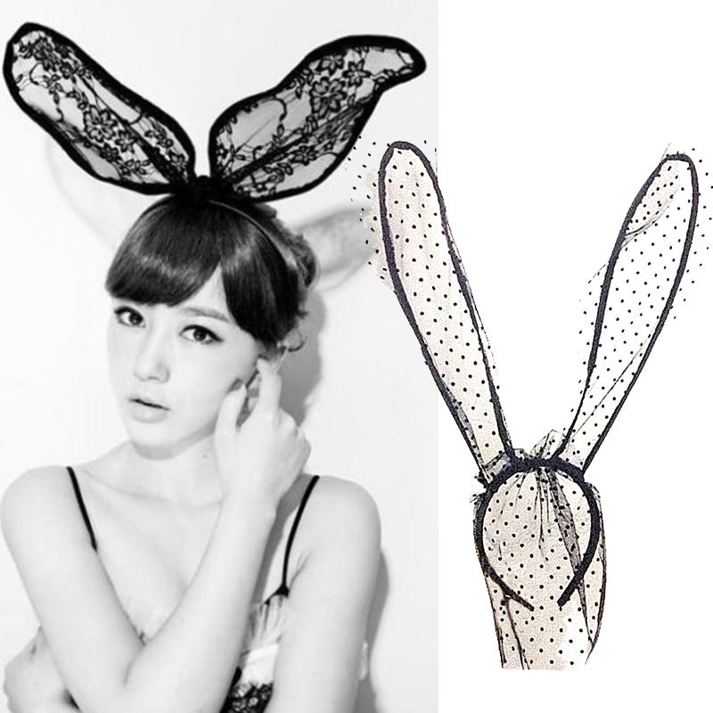 Novelty Adult Sexy Black lace veil headdress Eye Hair Accessories Mask Bunny Ears Veil Rabbit Ear Headbands Women Hair Band(China (Mainland))