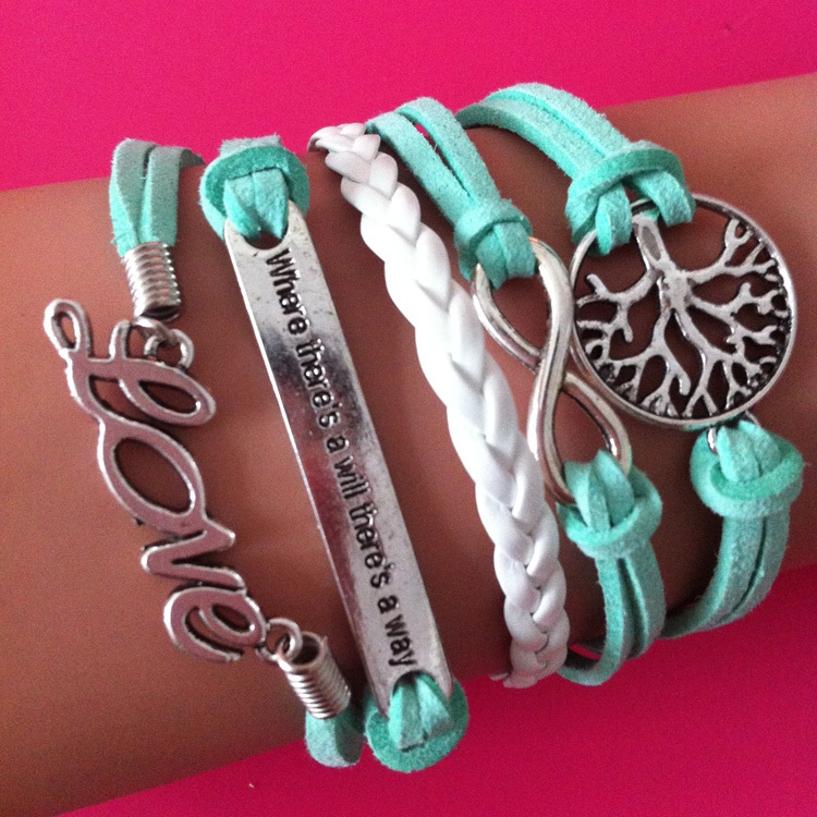 2014 new sky blue velvet infinity love tree bracelet accessories handmade jewelry bracelet for women free shipping