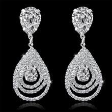 Crystal Rinestone Long Earrings Fashion Jewelry Luxury Big Silver Drop Earrings For Women Valentine's Day 2015 Bijouterie(China (Mainland))