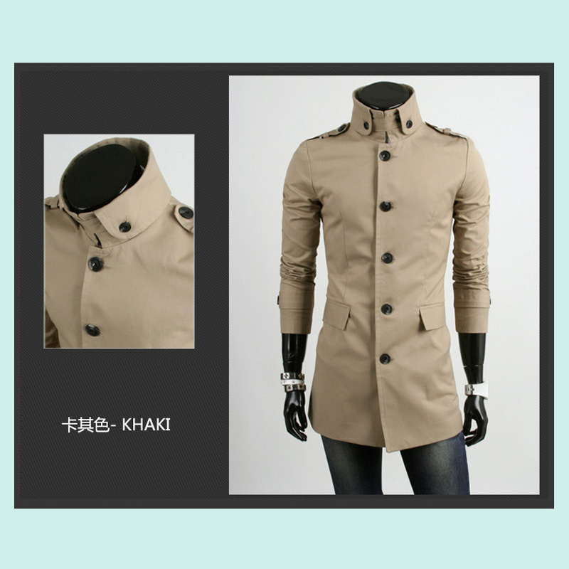New HOLLISTIC windbreaker coat fashion single-breasted collar men's boutique brand trench coat(China (Mainland))