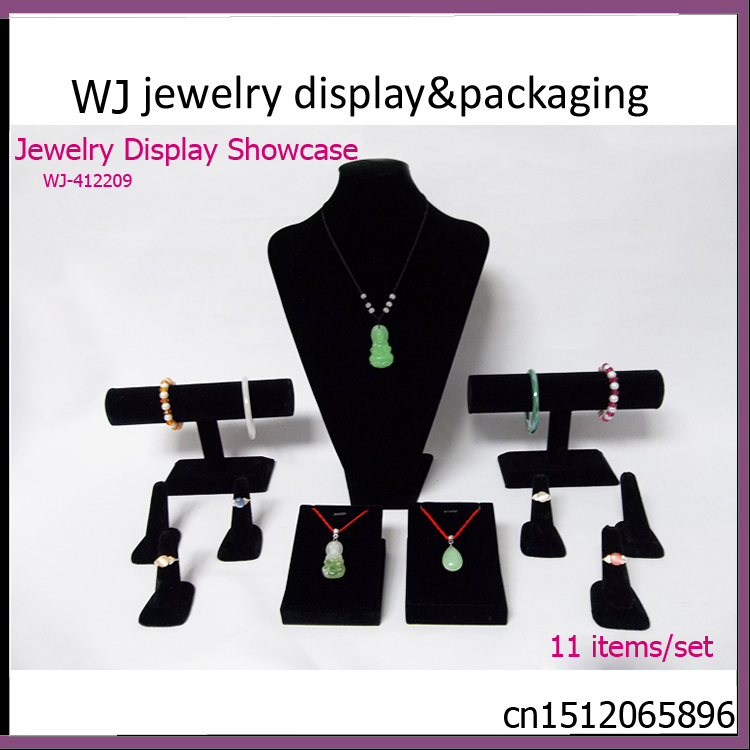 Organizer Black Velvet Wood Jewelry Display Set Mannequin Showcase Case For Necklace Pendant Earrings Bracelet Bangle WJ-412209<br><br>Aliexpress