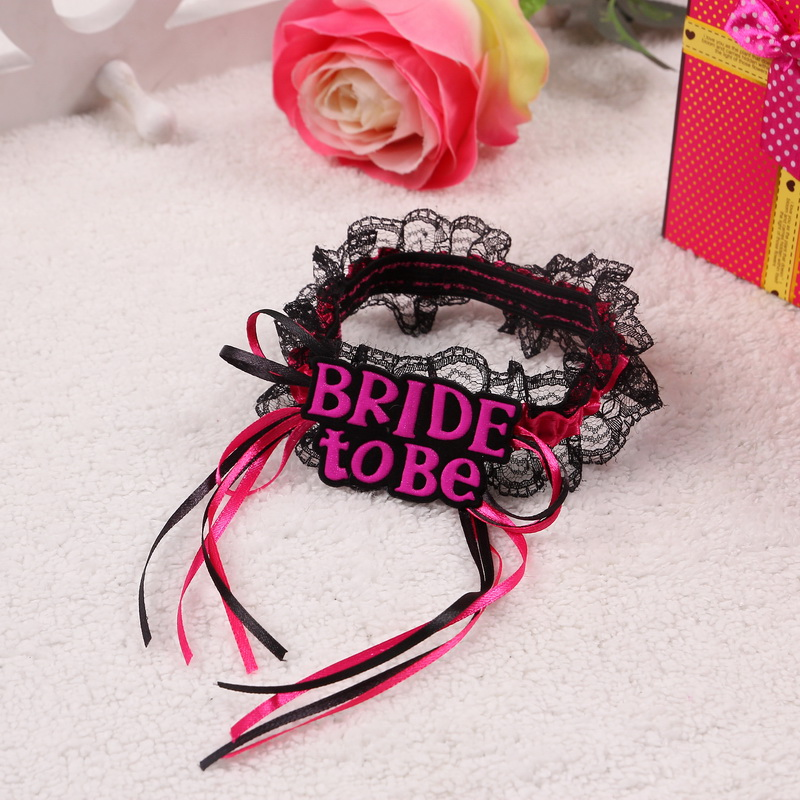 Bride to be Lace Garter Wedding Decorations Sexy Garter Bride Bridesmaid Bachelorette Party Favors and Gifts Hen Party Black(China (Mainland))