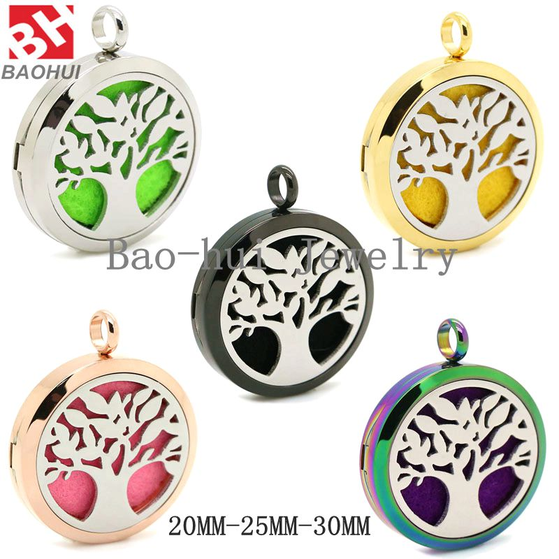 Aromatherapy Jewelry(20-25-30MM) Tree Of Life Stainless Steel Essential Oil Fragrance Perfume Diffuser Locket Pendant Mix Orders(China (Mainland))
