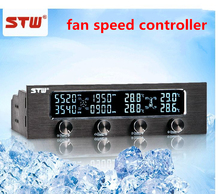 New STW 6041 5.25 Driver Place PC Case fans Speed Control Floppy Position Blue LCD Speed  Fan controller Control Cooling