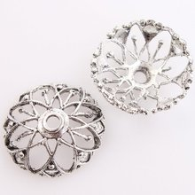 150 Pcs/lot Silver Plated Bead Hollow Flower Cap End Beads European Pendant Bead Fits Pandora Charms Bracelets Pendants 113059(China (Mainland))
