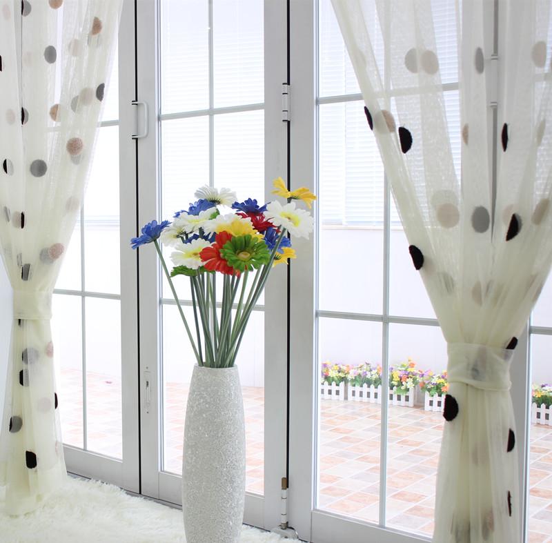 embroidered-gauze-polka-dot-white-brief-balcony-curtain-yarn-window ...
