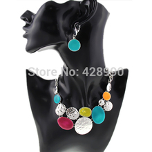 Free Shipping 2014 New Women Fashion Ethnic Colorful Resins Exaggerated Pendants Chunky Chains Statement Necklaces Jewelry