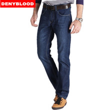 Plus Size 28-40 42 44 46 Darked Wash Jeans Mens Blue Black Cotton Denim Straight Fit Classic Casual Pants Male Trousers 507