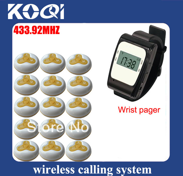 433.92mhz Wireless call pager guest system cafe shop alarm waiter consist of watch receiver and call buzzer DHL free shipping