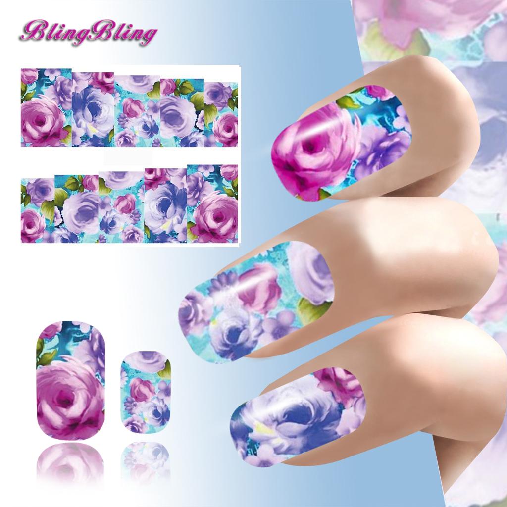 2016 Beauty Nail Art Purple Peony Flower Water Transfer Sticker Decals Nail Wraps Manicure Decoration Women(China (Mainland))