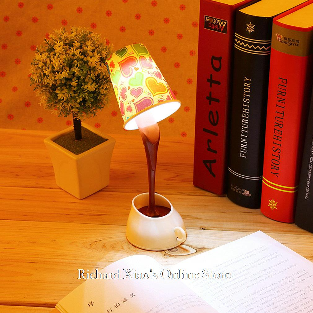 Creative Novelty DIY LED Table Lamp Home Romantic Pour Coffee Usb Battery Night Light(China (Mainland))