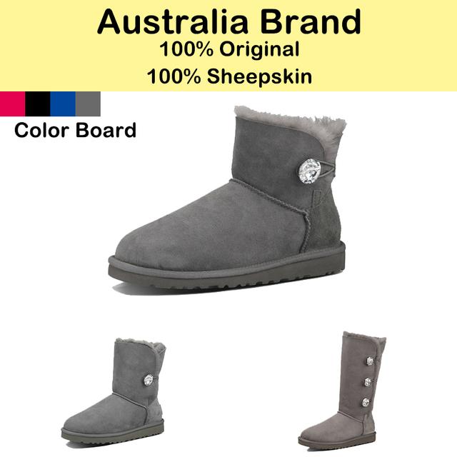 Австралийские марки женщин снегоступы овчины шерсти в один зимняя обувь кнопку горный хрусталь лодыжки-высокие туфли-botas для дам прямая поставка