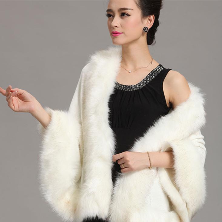 2015 Winter Women Sweater Cardigan Female Fox Fur Collar Poncho Cape Bridal Wedding Wool Shawl Cape 12 Colours(China (Mainland))