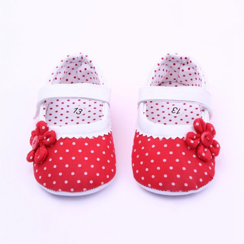 2016 Newborn Baby Girl Shoes Spring Summer Dots Flower Pink Cotton Shoes Infant Toddler First Walker For Baby 3-18 Months(China (Mainland))