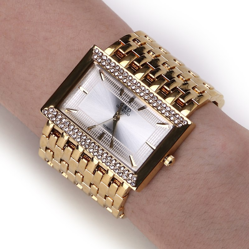 NEW!!! 2016 Brand New Stainless Steel Chain Fashion Gold Watch Women Wristwatches Quartz Watches(China (Mainland))