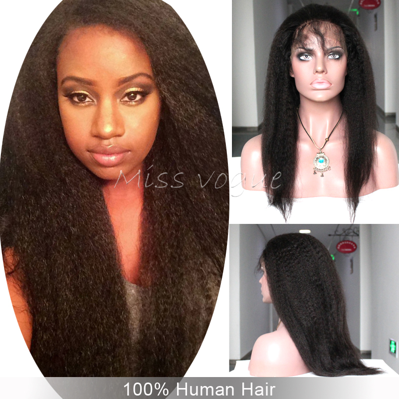 Brazilian Virgin Human Hair,Kinky Straight,Free Style,Glueless Front Lace Wig For Black Women,Fast Shipping(China (Mainland))
