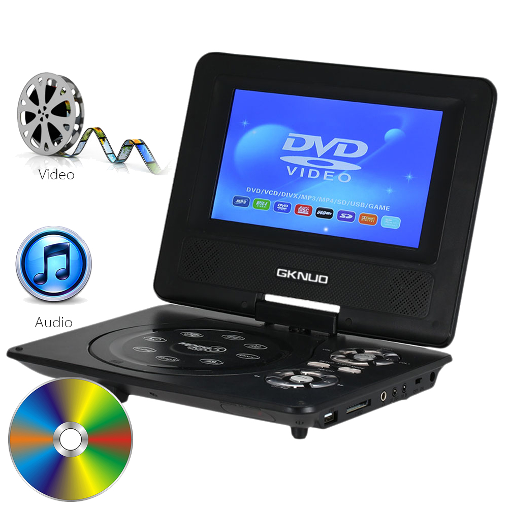 GKNUO GKN-700 7inch Portable DVD Player with Swivel Screen Support SD Card and USB Direct Play in Formats MP4/AVI/RMVB/MP3/JPEG(China (Mainland))
