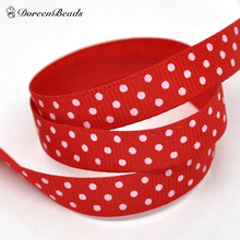 "DoreenBeads Hot Sale Red Dot 3/8"" Wide Wedding Craft Grosgrain Ribbon for Home Garden Party Decor, 10 Yards(9M)/Lot 2016 new(China (Mainland))"