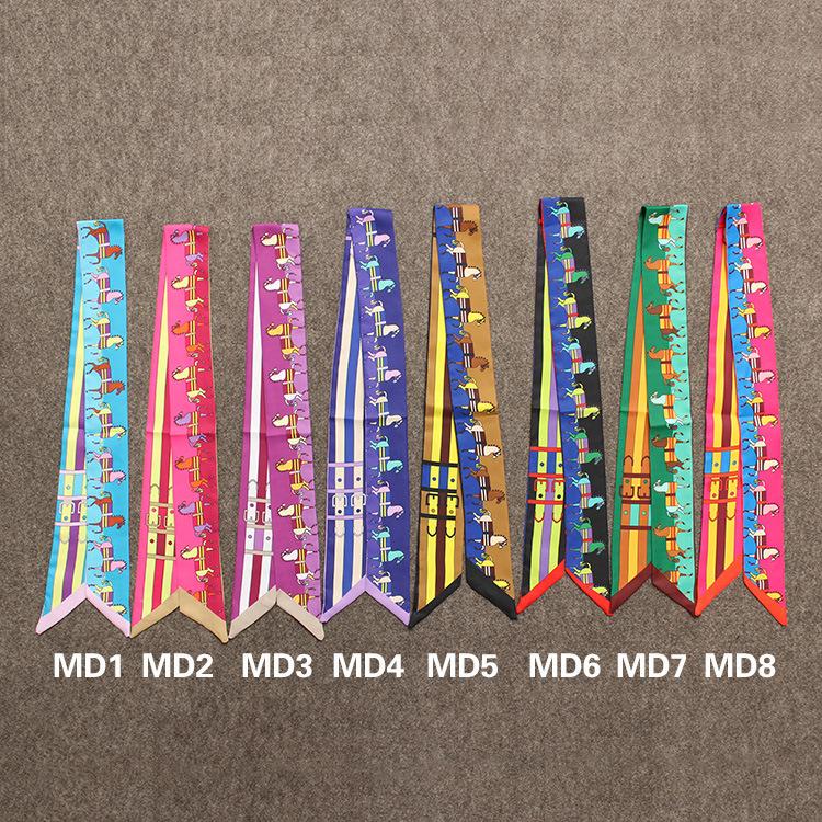 Twilly 2016 Fashion High-quality Print Horse Silk Scarf Small Ribbon Women headband Handle Bag wholesale(China (Mainland))