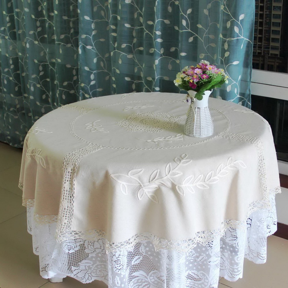 "High Quality 59"" Round Linen Tablecloth Handmade Embroidered Table Cover for Home Decornation(China (Mainland))"