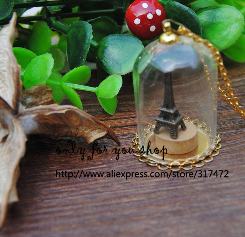 Здесь можно купить  Free ship!! 50sets/lot gold color 38*25mm glass dome globe & lacework base & cap  chain set glass vial pendant glass cover  Ювелирные изделия и часы