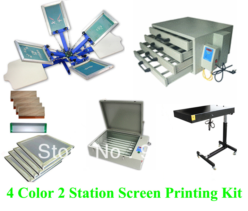 Free shipping discount full set 4 color 2 station t shirt for Single shirt screen printing