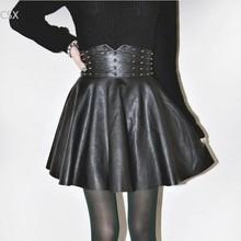 autumn winter Fashion Women Skirts PU faux leather skirts High Waist Pleated Skirt female short mini skirt saias femininas 61