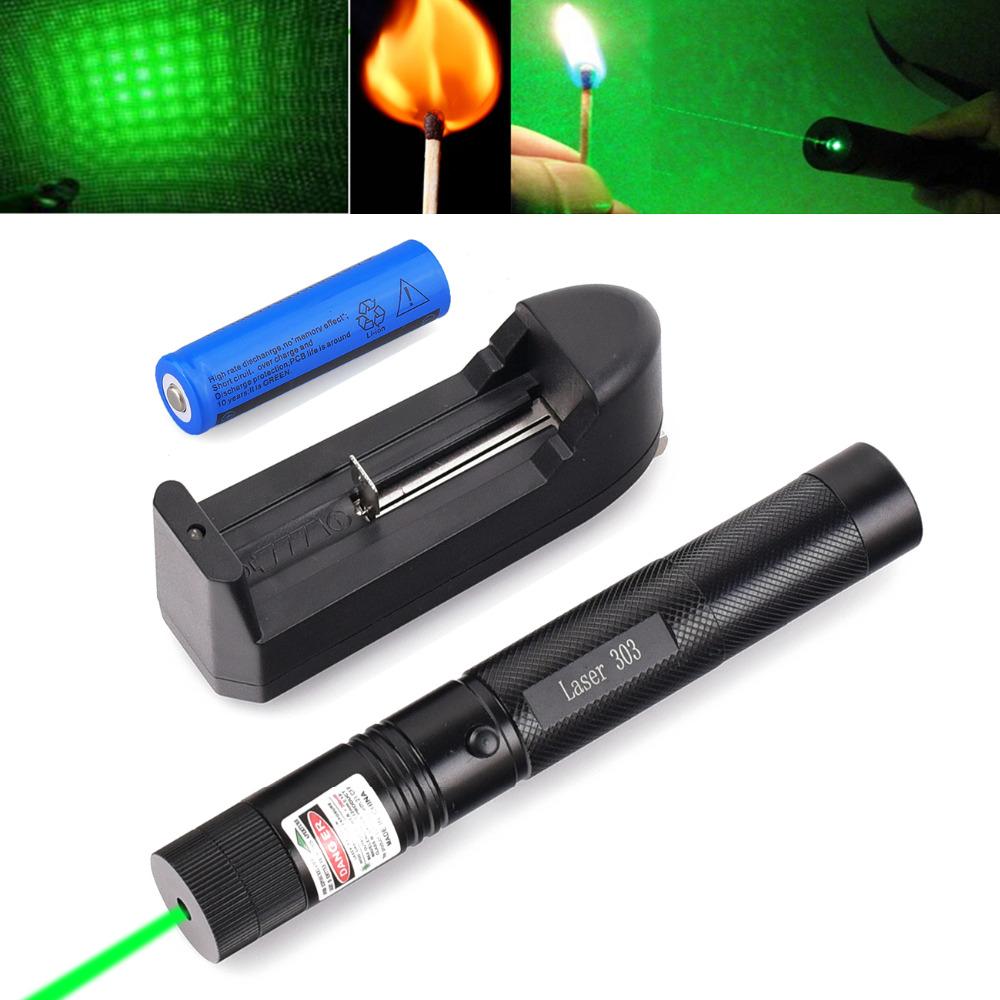 Military 532nm 50mw 303 Green Laser Pointer Lazer Pen Burning Beam +18650 Battery Burning Match+Charger(China (Mainland))