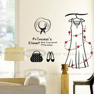 2015 New Design Shop Vinyl Wall Decal Fashion Dress Hat Bag Shoe Mural Art Wall Sticker Store Window Glass Home Decoration(China (Mainland))