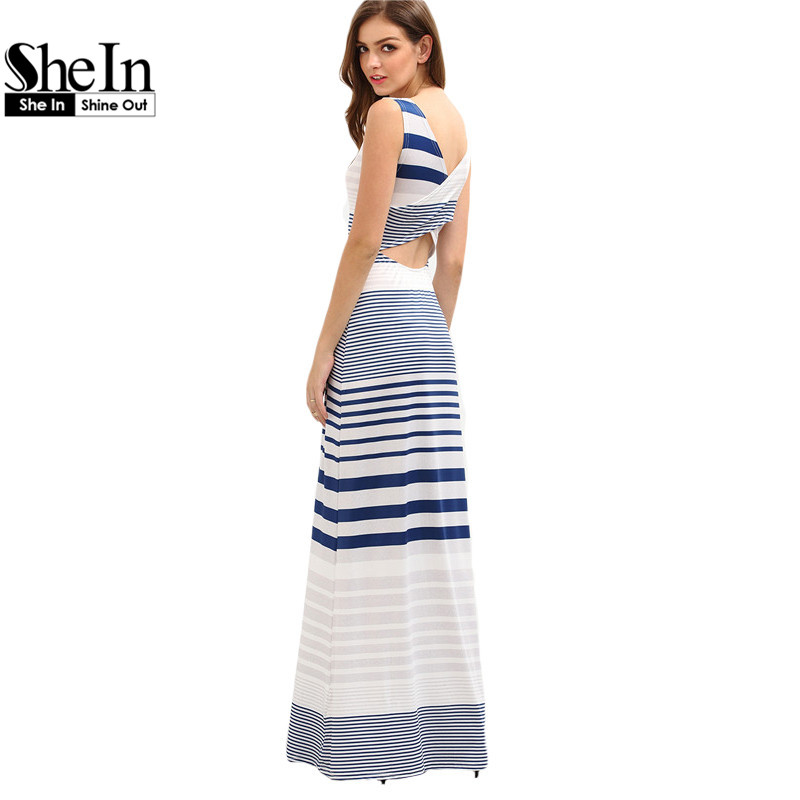 SheIn Summer Long Beach Dresses Womens Cut Out Crisscross Wrap Back Sleeveless Multicolor Striped Maxi Tank Dress(China (Mainland))