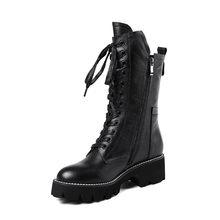 ASUMER schwarz mode herbst winter stiefel frauen zip kreuz gebunden mittlere waden stiefel platz ferse klassische damen echtes leder stiefel(China)