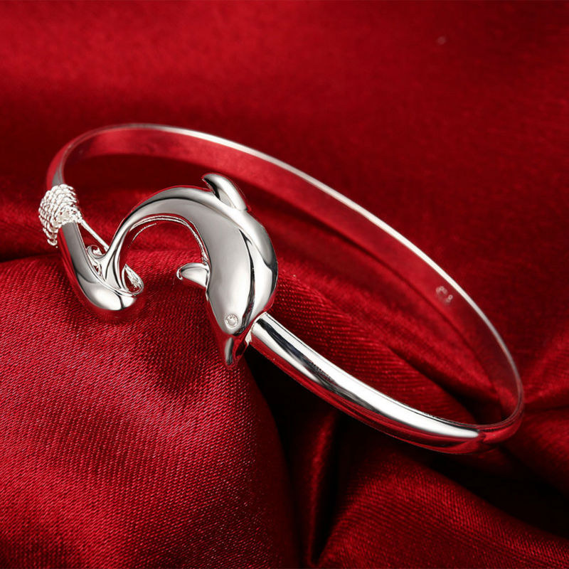 Popular Dolphin Silver plated bracelet fashion jewelry simple design bracelet opening cuff Bangle manufacturers wholesale(China (Mainland))