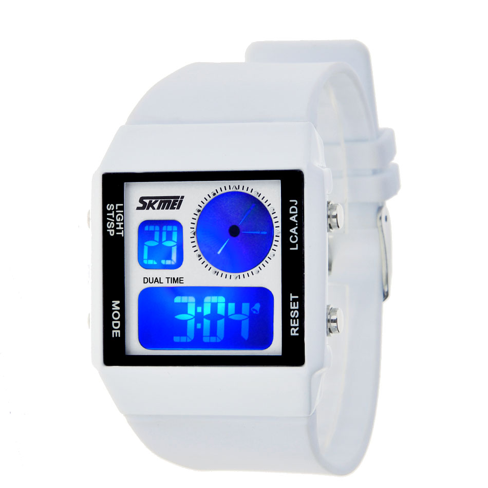 Watch waterproof dual display electronic watch male women's lantern lovers table fashion jelly color