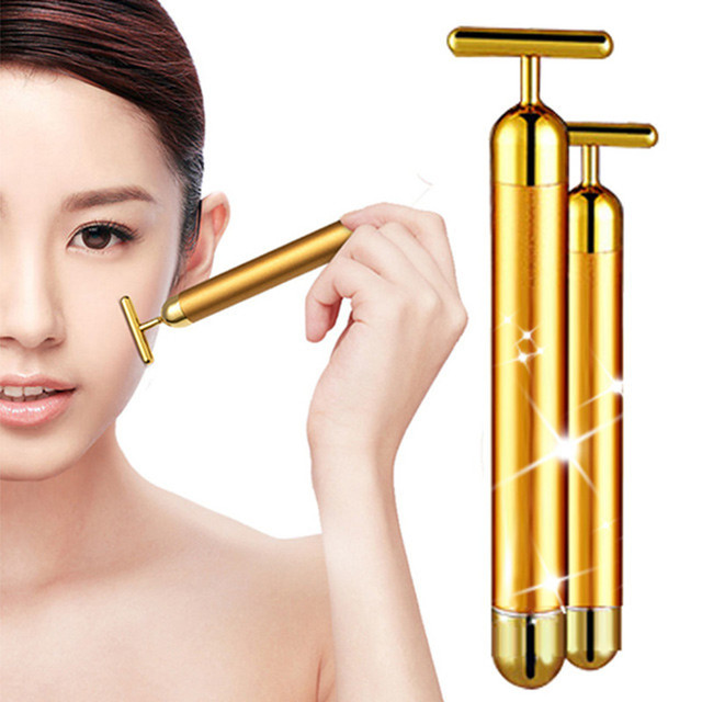 3pcs Face slimming & face lift & skin tightening 24k gold bar vibration face massage roller wrinkle facial care machine GI2352