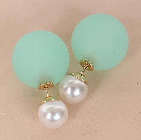 Nice New Fashion Pearl Earrings Neon Color Double Pearl Earrings For women SE773(China (Mainland))