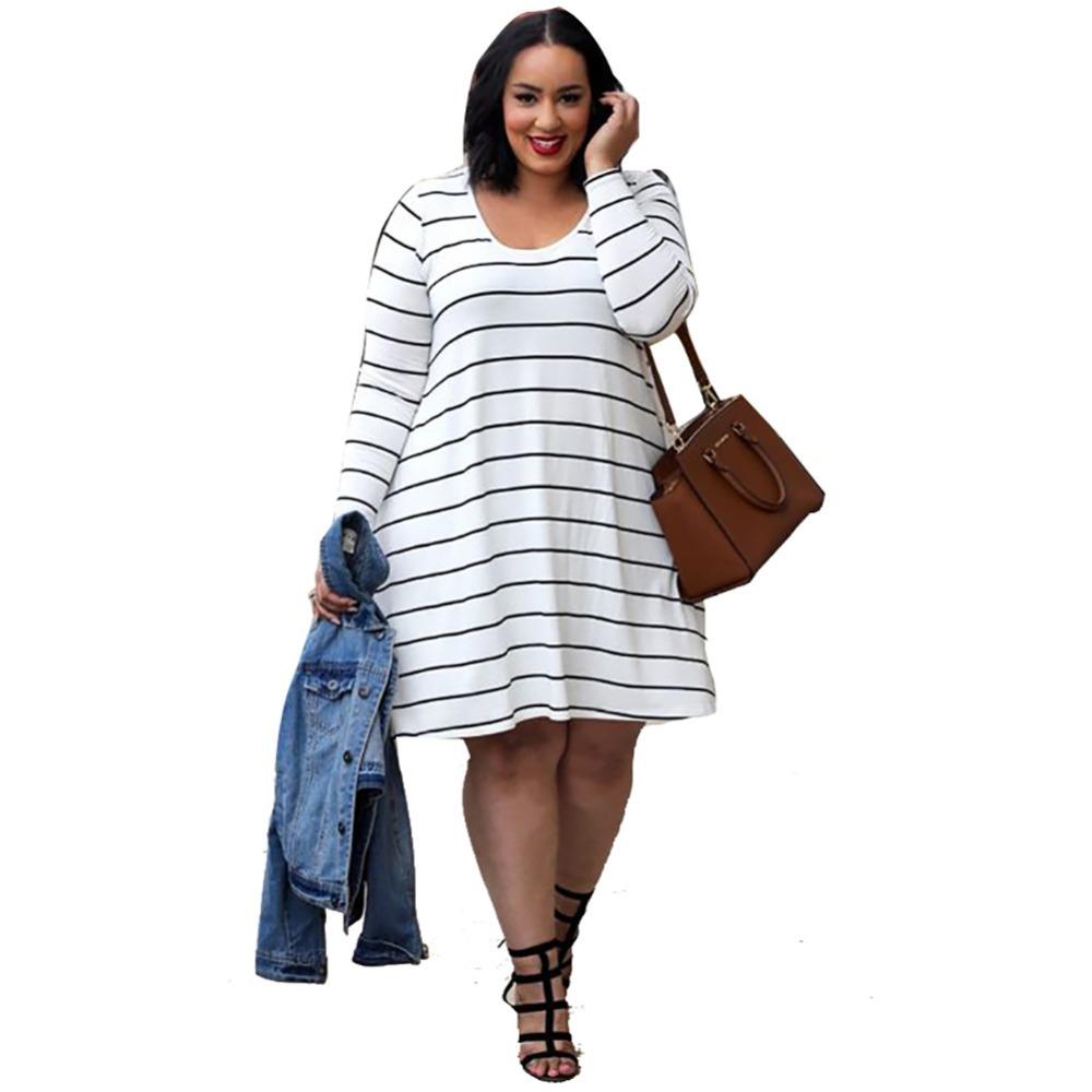 2016 summer striped casual o neck bodycon plus size