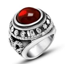 Hot Sale Huge Black Onyx High Quantity Stainless Steel Ring Full Size Vintage Gothic Style Ruby Agate Goat Carving Ring(China (Mainland))
