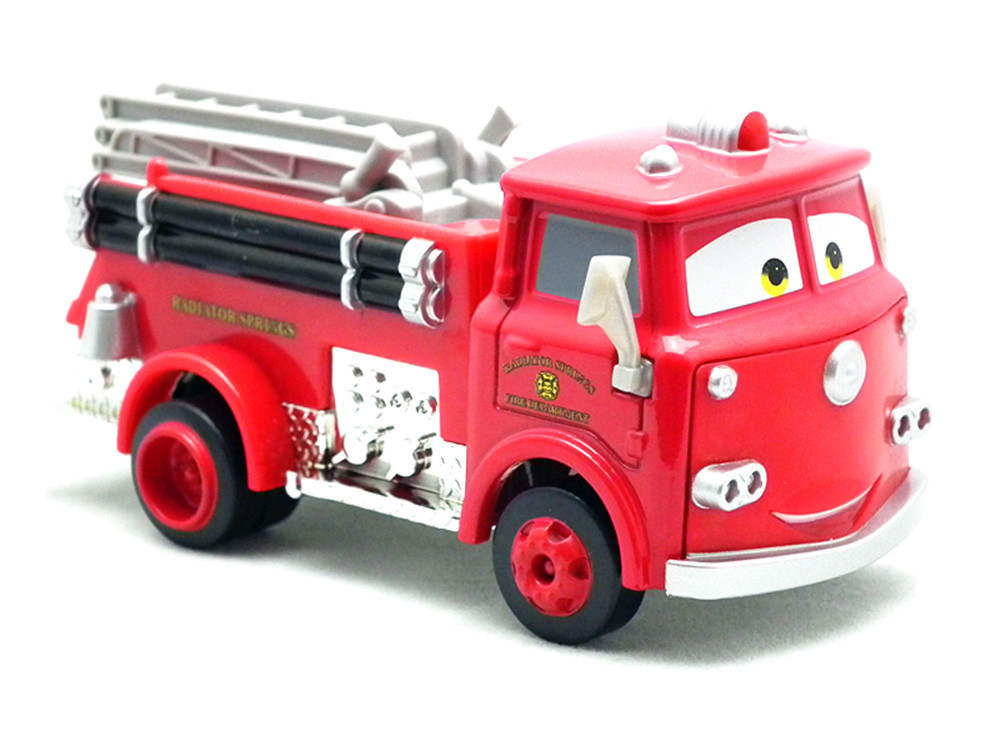 Гаджет  2014 Hot selling Pixar Cars 2 Red Firetruck Deluxe Fire Truck Metal Toy Car Loose Diecast 1:55 for Kids Children None Игрушки и Хобби