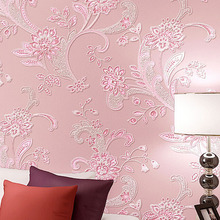 Modern fashion 3D flocking stereoscopic flower wallpaper roll for bedroom living room,papel de parede floral(China (Mainland))