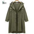 High quality Slim women Trench Coat Solid color long sleeves loose large size casual hooded Trench